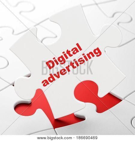 Advertising concept: Digital Advertising on White puzzle pieces background, 3D rendering