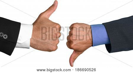 Thumbs up thumbs down business contrast thumbs conflict yes or no