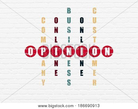 Marketing concept: Painted red word Opinion in solving Crossword Puzzle
