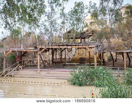 Qasr el Yahud, baptism site on Jordan River in Israel, view from the west bank to Jordanian side in Israel