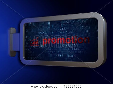 Advertising concept: Promotion and Growth Graph on advertising billboard background, 3D rendering