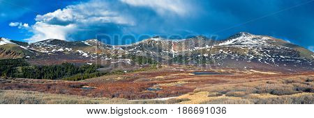 Panoramic view of Mt. Bierstadt as seen from Guanella Pass in the Colorado Rocky Mountains.