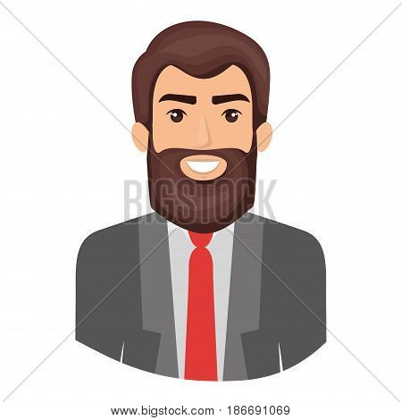 colorful portrait half body of man with beard and formal suit vector illustration