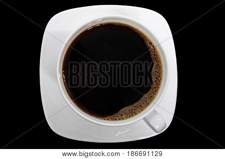 White cup of Coffee / Tea with saucer isolated on black background