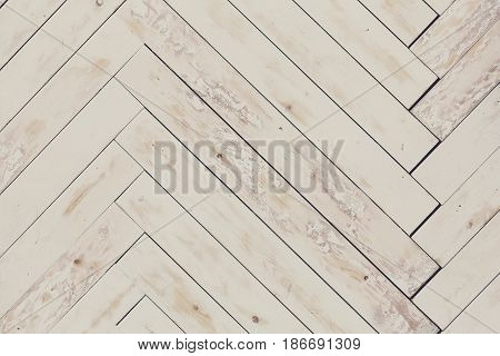 Wooden texture background, white grungy painted parquet, natural wood pattern surface, rustic or shabby chic style