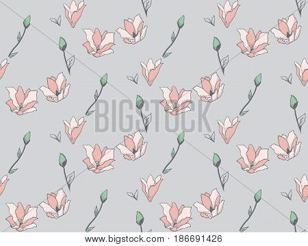 Vector Colorful Decorative Seamless Backdround Pattern with Drawn Flowers, Blossom, Plants. Doodle Style Greenery, Lush Foliage, Foliate. Vector Illustration. Pattern Swatch
