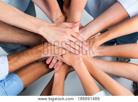 Business people teamwork cooperation friendship diversity unity