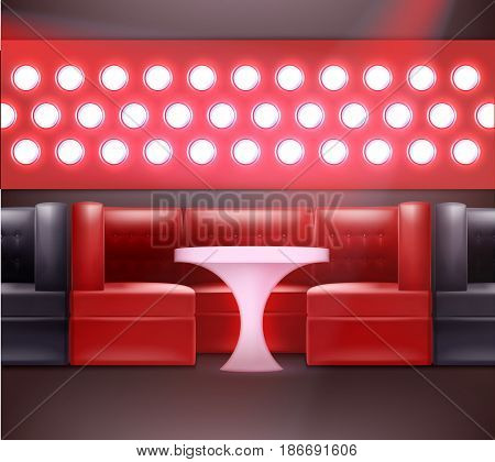 Vector night club interior in red, black colors with backlights, armchairs and illuminated table