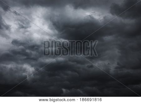 Dark storm clouds before the rain. Bad weather rain clouds.