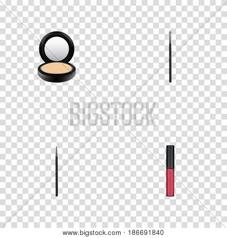 Realistic Liquid Lipstick, Cosmetic Stick, Blusher And Other Vector Elements. Set Of Greasepaint Realistic Symbols Also Includes Makeup, Blending, Blusher Objects.