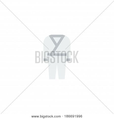 Flat Kimono Element. Vector Illustration Of Flat Uniform  Isolated On Clean Background. Can Be Used As Uniform, Kimono And Karate Symbols.