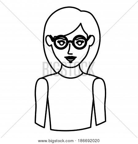monochrome contour half body of woman with glasses and sleeveless shirt vector illustration