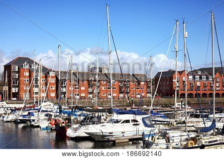 Swansea, Wales, UK - March 31, 2017:  Swansea Marina which can berth hundreds of boats and is a popular visitors attraction of the city