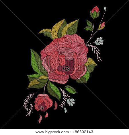Vector embroidery design. Embroidered floral pattern with roses and burgeons. Traditional folk flowers for fashion. Botanical ornate background