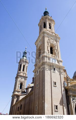 View Of Two Towers Of El Pilar, Zaragoza's Cathedral In Spain
