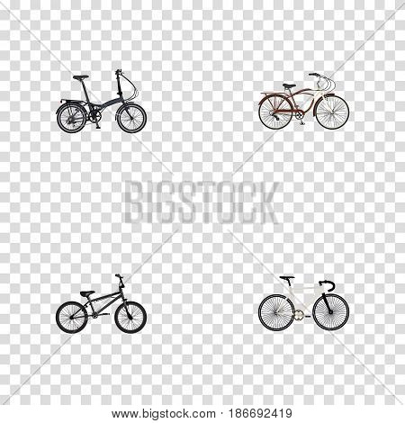 Realistic Road Velocity, Extreme Biking, Folding Sport-Cycle And Other Vector Elements. Set Of Sport Realistic Symbols Also Includes Bike, Bmx, Cruise Objects.