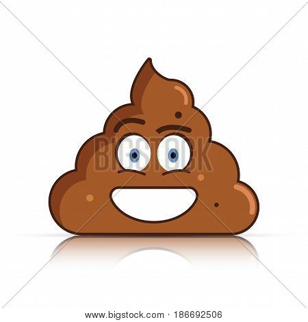 Shit emoji. Poo emoticon. Poop face. Vector illustration