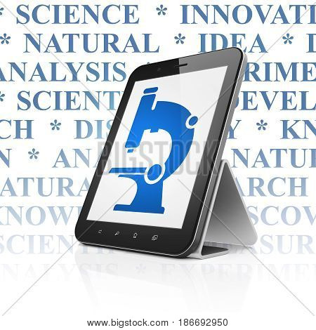 Science concept: Tablet Computer with  blue Microscope icon on display,  Tag Cloud background, 3D rendering