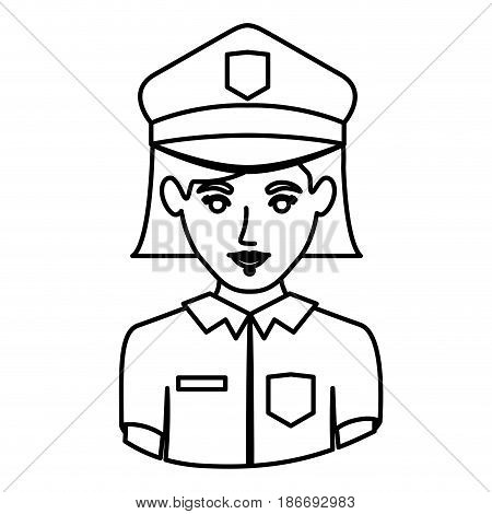 monochrome contour half body of policewoman vector illustration