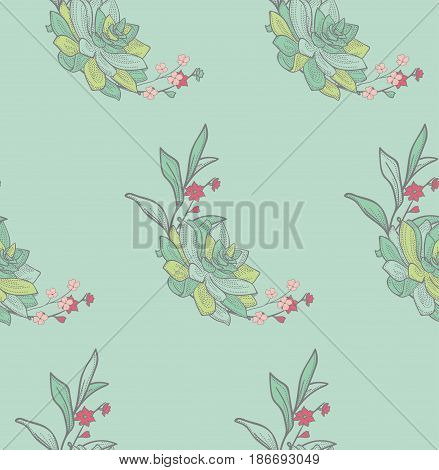 Vector Colorful Seamless Backdround Pattern with Drawn Flowers, Branches, Succulent. Doodle Style Greenery, Lush Foliage, Foliate. Vector Illustration. Pattern Swatch