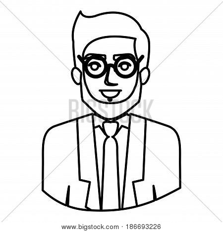 monochrome contour half body of man with beard and glasses and formal suit vector illustration