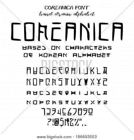 Hand drawn alphabet written font simulating Korean characters: uppercase and lowercase latin letters numbers and some punctuation stylized as Korean symbols. Coreanica font. Vector illustration
