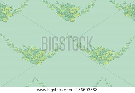 Vector Colorful Seamless Backdround Pattern with Drawn Flowers, Lotus, Succulent. Doodle Style Greenery, Lush Foliage, Foliate. Vector Illustration. Pattern Swatch