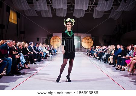 Ternopil, Ukraine - May 12, 2017: Fashion Models Wearing Traditional Clothes With Wreath On Had Desi