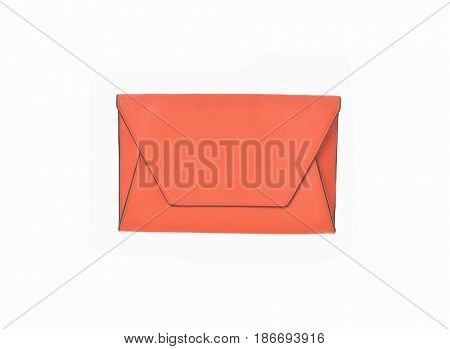 Orange, Clutch handbag-white  background