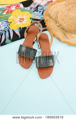 Fashion. Summer woman accessories-Summer floral scarf, shoes,hat, on blue background