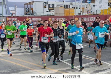 BERLIN - APRIL 03 2016: The annual Berlin Half Marathon. Race through the city streets.