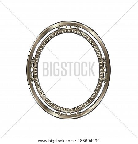 Decorative frame of a round form of silvery color with finishing on an internal circle the vector image