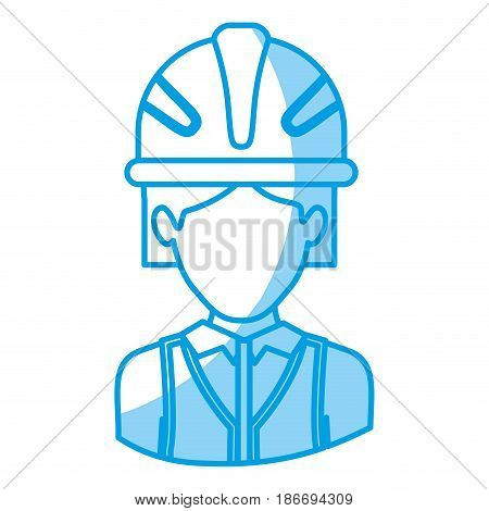 blue silhouette with half body of faceless female architect with helmet vector illustration