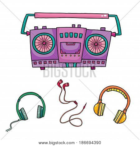 Musical equipment. Retro tape recorders and collection of headphones