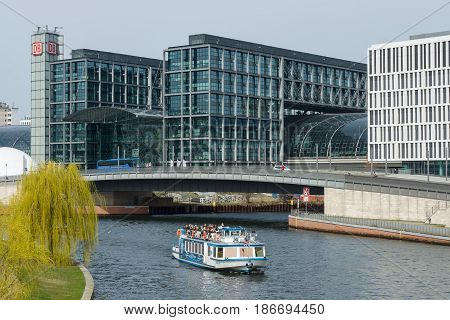 BERLIN - APRIL 03 2016: Berlin's main railway station - Hauptbahnhof.