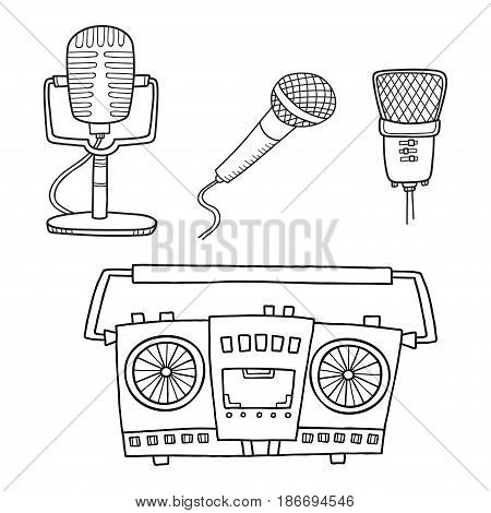 Musical equipment. Retro tape recorders and collection of microphone