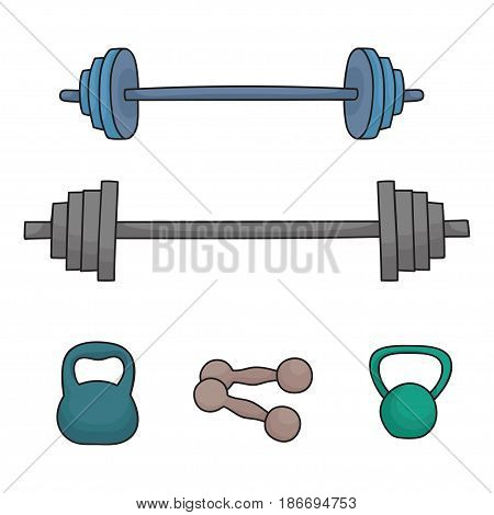 A set of simple dumbbells and barbells isolated on white background