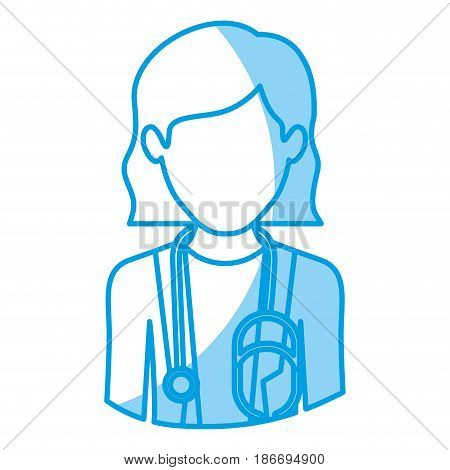 blue silhouette with half body of faceless female doctor vector illustration
