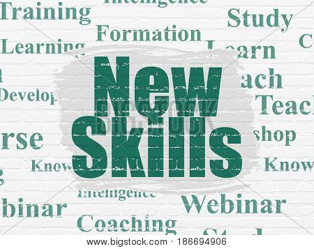 Education concept: Painted green text New Skills on White Brick wall background with  Tag Cloud