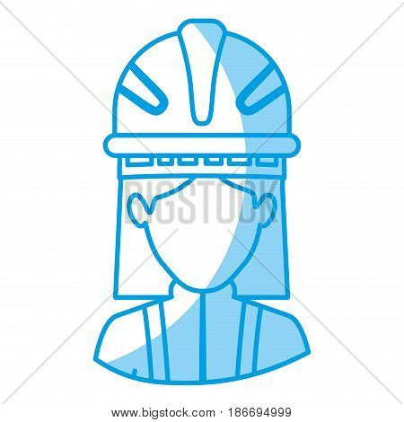blue silhouette with half body of faceless female firefighter vector illustration