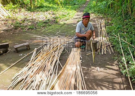 BALI, INDONESIA - DECEMBER 25, 2016: Balinese man carving bamboo in the countryside from Bali on 25th of december 2016