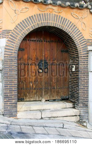 Asian Korean Arched Doorway with Ancient Style