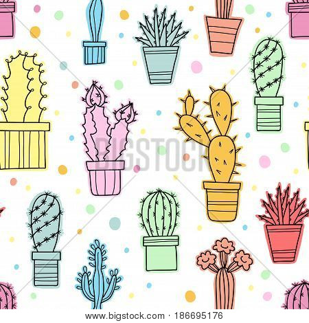 Vector seamless pattern of lovely color cacti and plants in pots, hand drawn flowers.