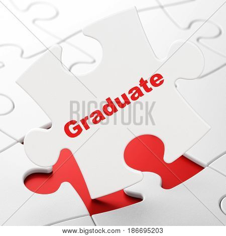 Learning concept: Graduate on White puzzle pieces background, 3D rendering