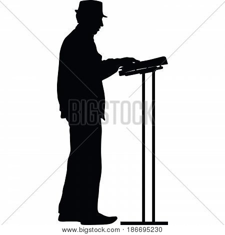 man with a hat as keyboardist silhouette vector