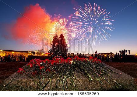 Saint-Petersburg. Russia. May 9 2017. A view of festive flowers and a salute on the day of victory on the Champ de Mars.