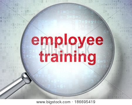 Education concept: magnifying optical glass with words Employee Training on digital background, 3D rendering