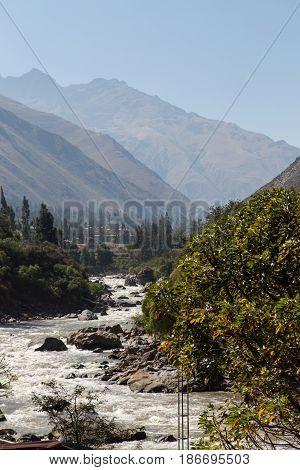View of Vilcanota River from Inca Trail, Peru
