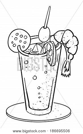 Cartoon image of weird cocktail. An artistic freehand picture.