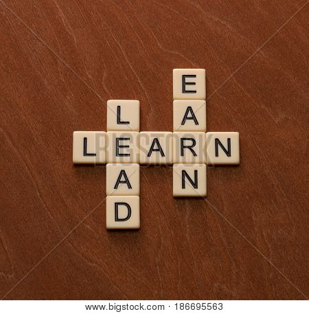Crossword Puzzle With Words Learn, Lead And Earn. Leadership Concept.